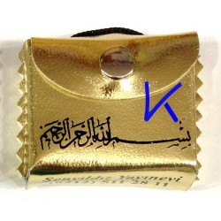 Mini Kur'an-ı Kerim - Askılı, Kılıflı - altın sarı renk
