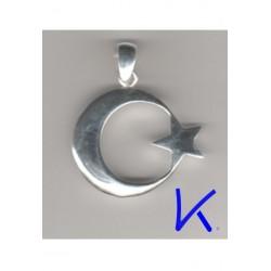 Ay Yıldız Gümüş Kolye - Kabartmalı, büyük boy