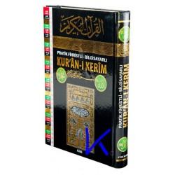 Kur'an-ı Kerim - pratik fihristli, bilgisayar yazılı - rahle boy - kabe basın