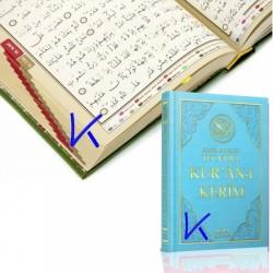 Tecvidli Bilgisayar Hatlı Renkli Kur'an-ı Kerim - orta boy, mavi renk kapak - seda