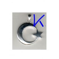 Ay Yıldız Gümüş Kolye - Kabartmalı, küçük boy