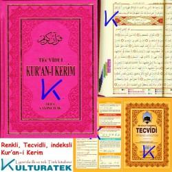 Tecvidli Kur'an-ı Kerim - Tecvid kitabı Hediyeli - lüks baskı - pembe renk kapak - orta boy - Sefa