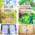 Neşeli Elifba Seti: Çocuk Elifbası + Alıştırma Kitabı - büyük boy, renkli, resimli