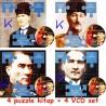 Mustafa Kemal Atatürk Puzzle Kitap + VCD seti - 4 kitap, 4 VCD set - 4 VCD Hediyeli