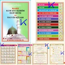 Renkli Kur'an Elifbası ve Tecvid Kitabı - Elifbe ve Renkli Kelime Mealli  Dua ve Yasin kitabı - Rayiha