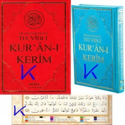 Tecvidli renkli Kur'an-ı Kerim - Tecvid ilaveli - lüks baskı - kırmızı renk kapak - rahle boy - Sefa