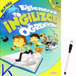 Eğlenerek Ingilizce Öğreniyorum - Alfabe - kitap + kalem hediyeli - yazılıp silinebilir
