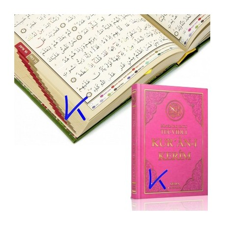 Tecvidli Bilgisayar Hatlı Renkli Kur'an-ı Kerim - orta boy, pembe renk kapak - seda