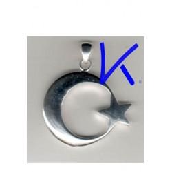 Ay Yıldız Gümüş Kolye - Kabartmalı, orta boy