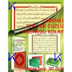 Kur'an-ı Kerim Hatmi Tek Tek Cüzlü - Çantalı, bilgisayar hatlı, rahle boy, kırmızı renk