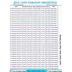 RAMAZAN IMSAKIYESI 2012 - LYON