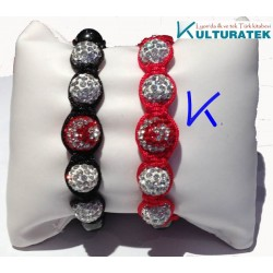 Bilezik Shamballa Ay Yıldızlı - siyah ipli - bracelet shamballa Turquie