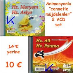Hz Meryem, Hz Asiye + Hz Ali, Hz Fatıma  2 VCD set - Cennetle Müjdelenler - animasyon, çizgi film - VCD